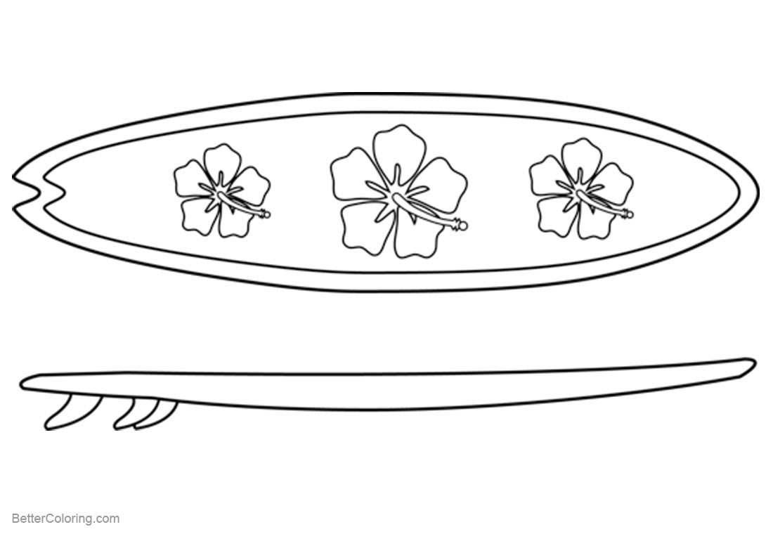 Top Kostenlos Färbung Seite: Surfboard Coloring Pages Top View And Side View
