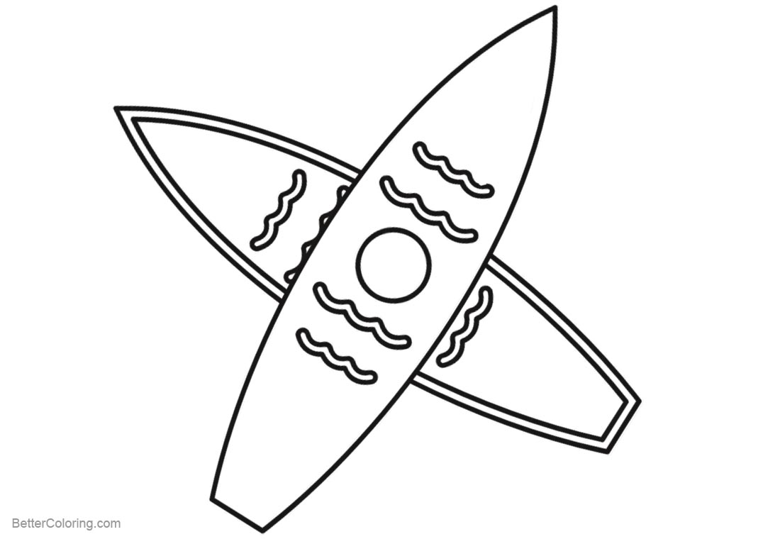 Surfboard Coloring Pages Two Surfboards printable for free