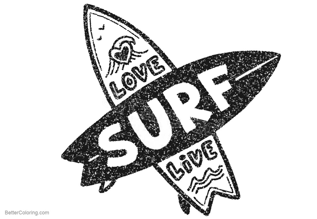 Surfboard Coloring Pages with Letters printable for free