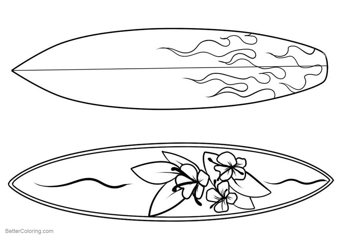 Surfboard Pattern Coloring Pages Clipart printable for free