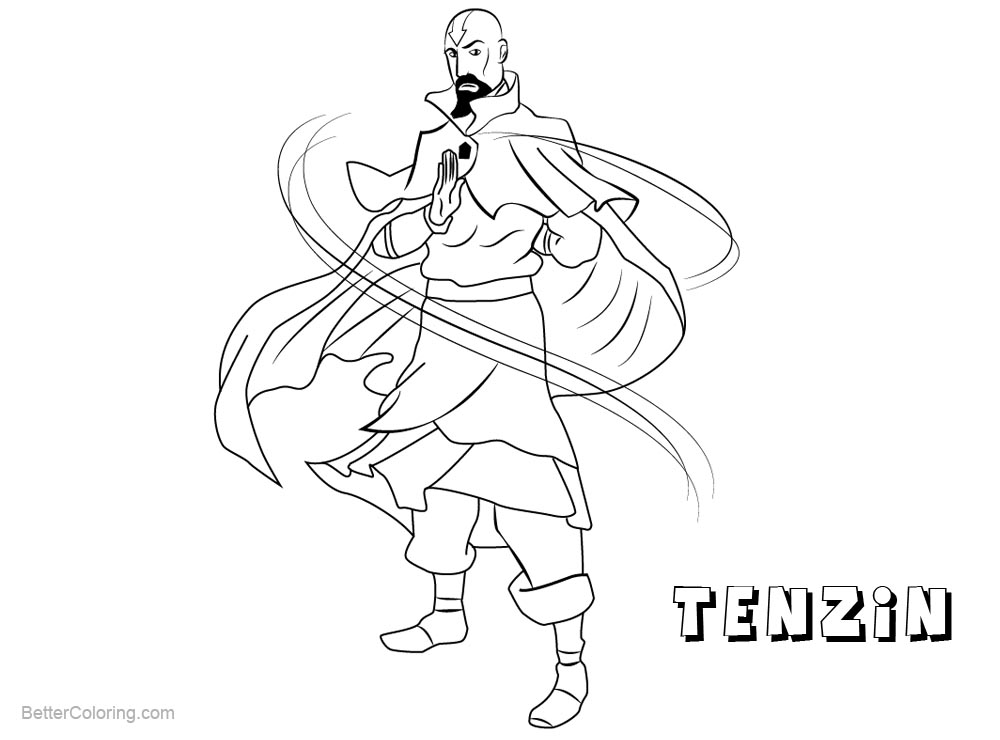 Free Tenzin from The Legend of Korra Coloring Pages printable
