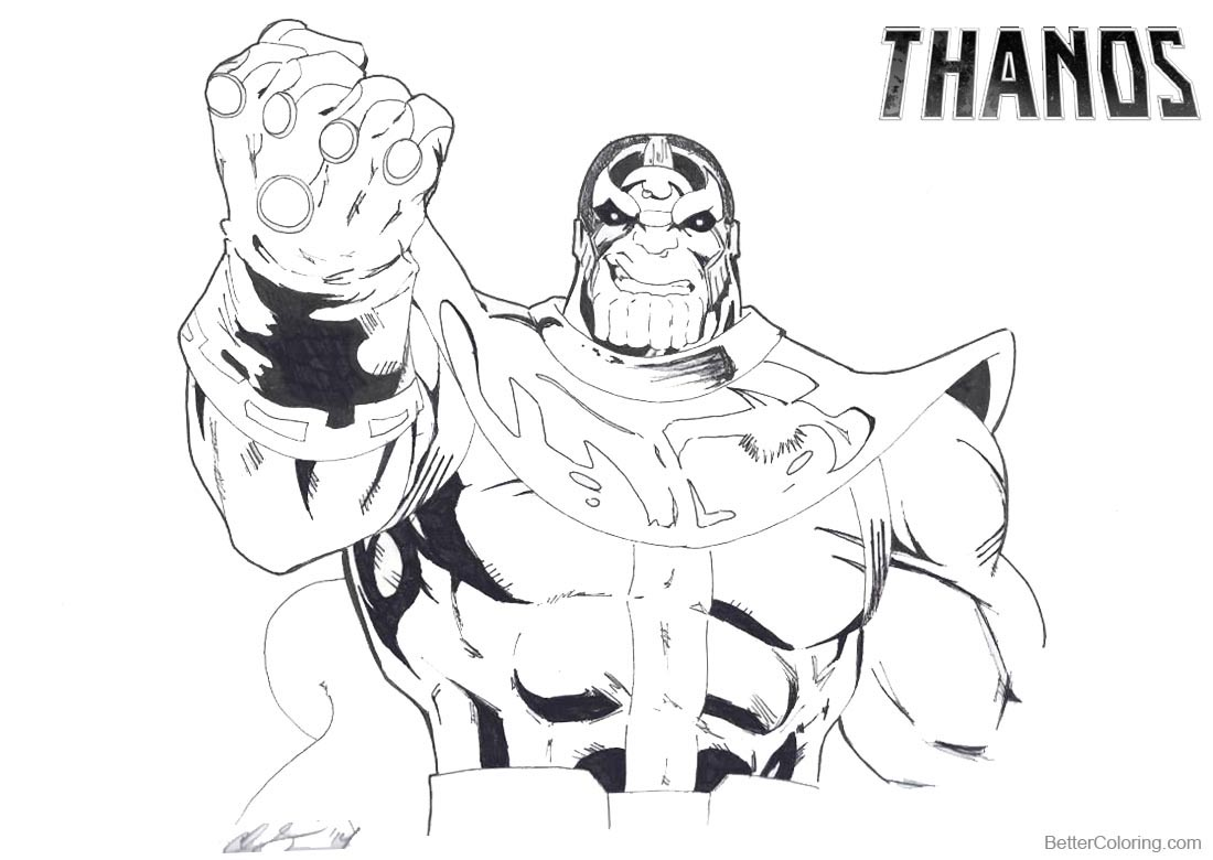 Thanos Coloring Pages Infinity Gauntlet by Sabretooth451 printable for free