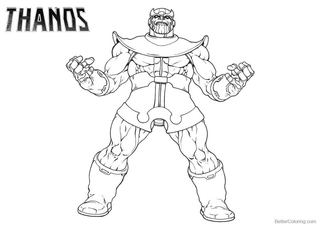 Thanos Coloring Pages Line Art Drawing