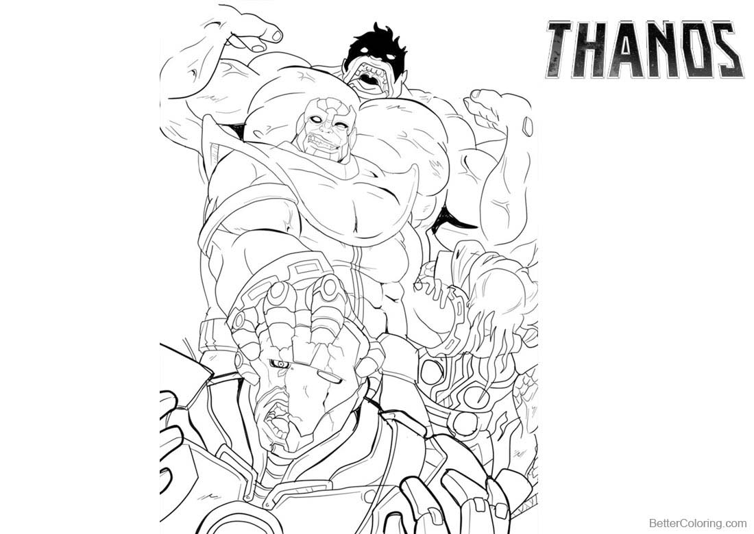 Thanos Coloring Pages Marvel Characters printable for free