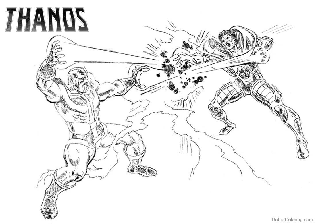 Thanos Coloring Pages Thanos is Fighting - Free Printable ...