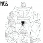 Thanos Coloring Pages with Marvel Characters