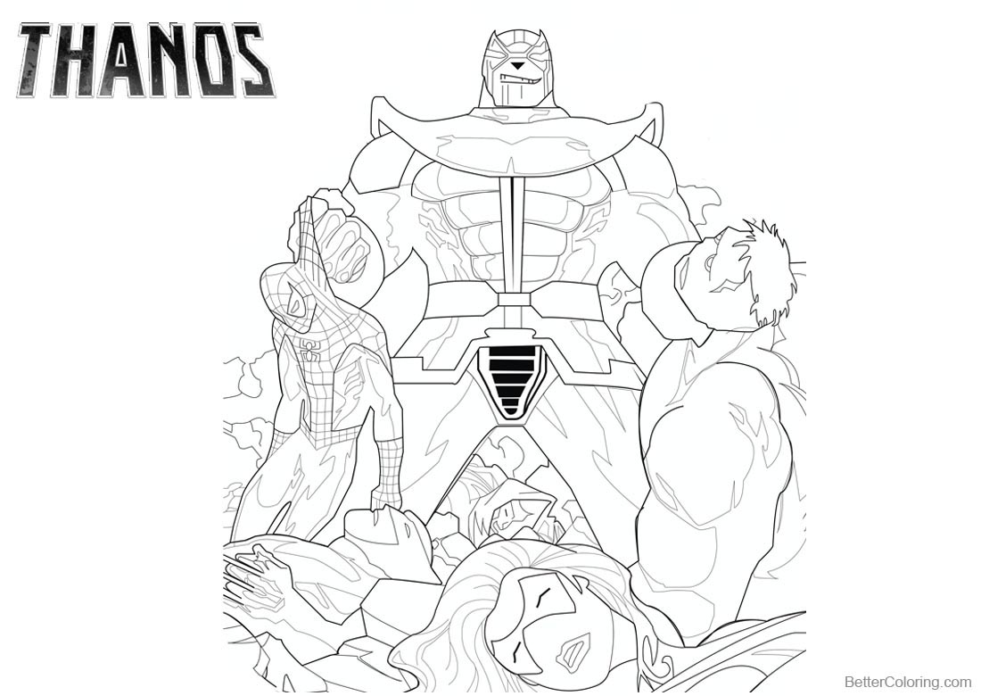 Superhero Thanos Coloring Pages: Thanos Coloring Pages With Marvel Characters