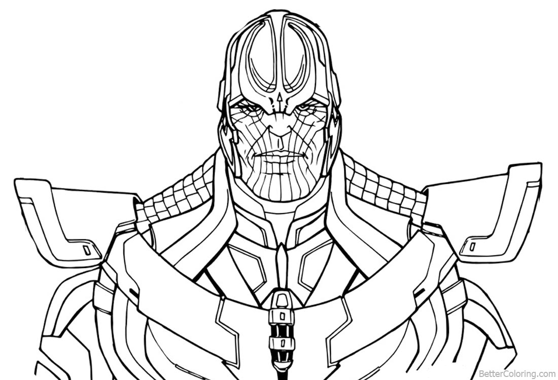Superhero Thanos Coloring Pages: Thanos From Avengers Infinity War Coloring Pages Line