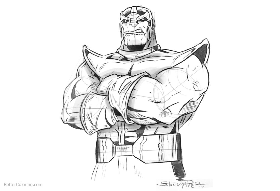 Superhero Thanos Coloring Pages: Thanos From Avengers Infinity War Coloring Pages By Andrew