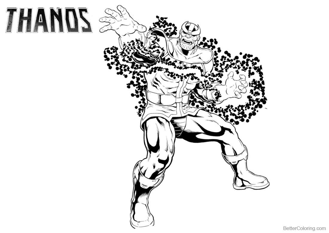 Superhero Thanos Coloring Pages: Thanos From Marvel Coloring Pages