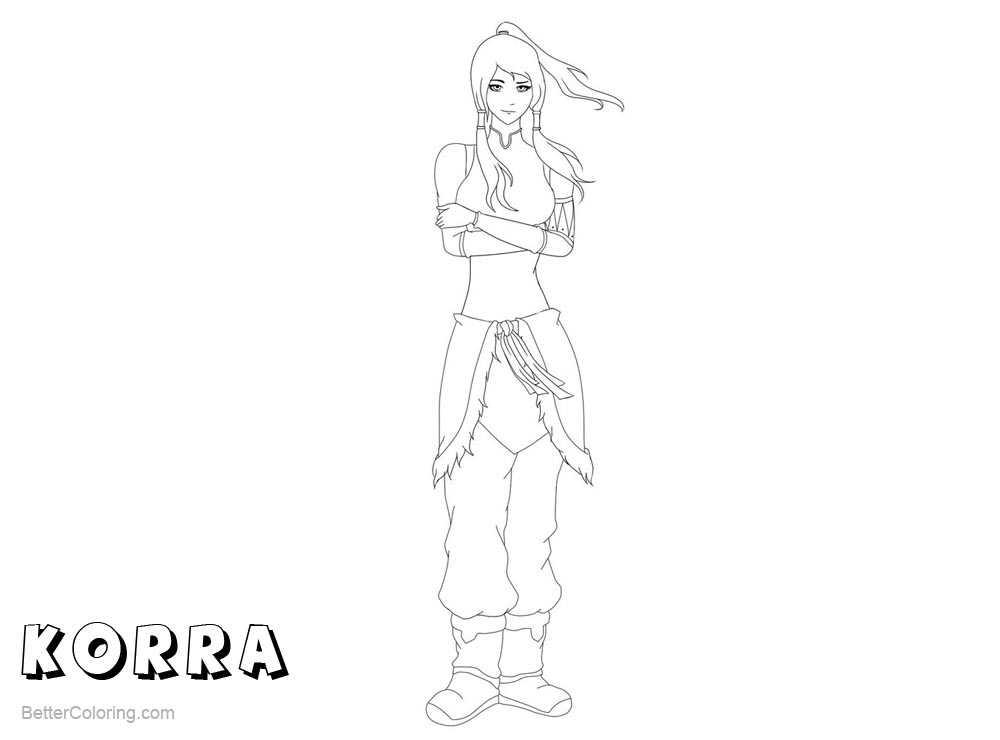 Free The Legend of Korra Coloring Pages Black and White by iMeganruby printable