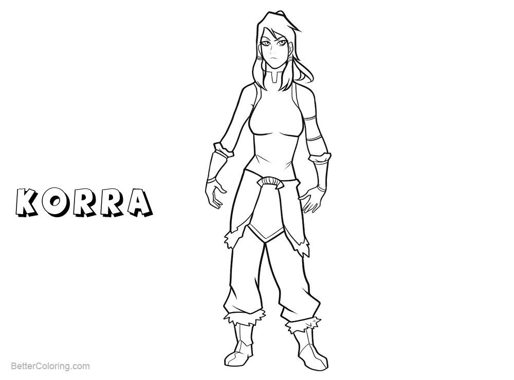 Free The Legend of Korra Coloring Pages Character Korra printable
