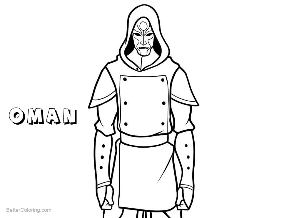 Free The Legend of Korra Coloring Pages Character Oman printable