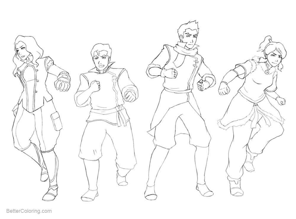 Free The Legend of Korra Coloring Pages Crew by DiamondMog printable
