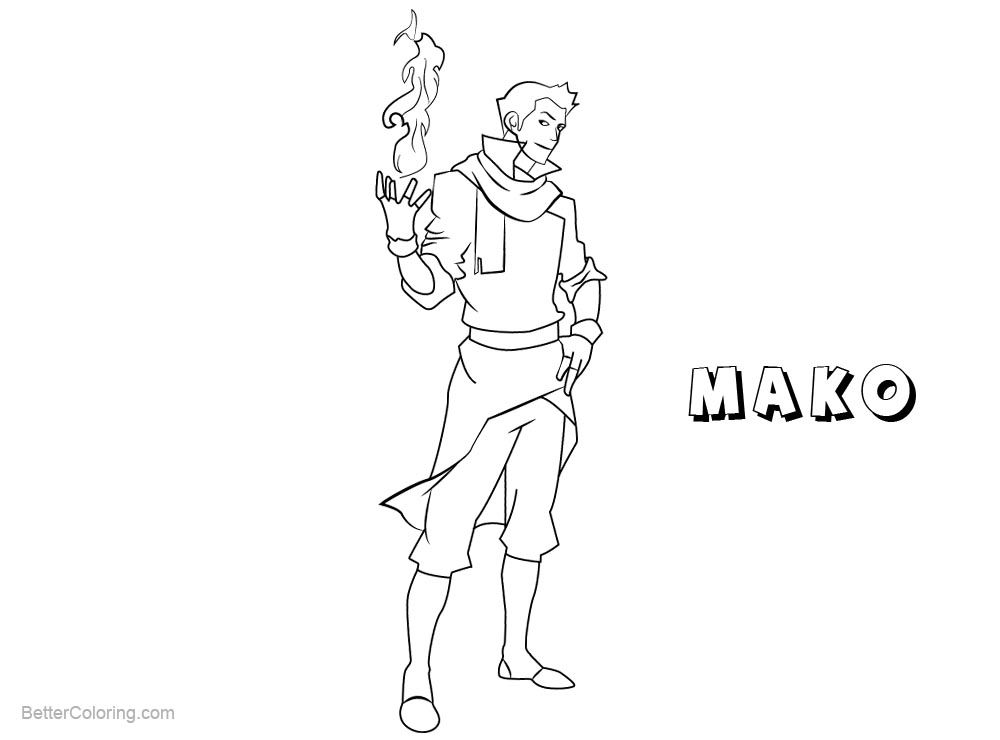 Free The Legend of Korra Coloring Pages Mako Line Drawing printable