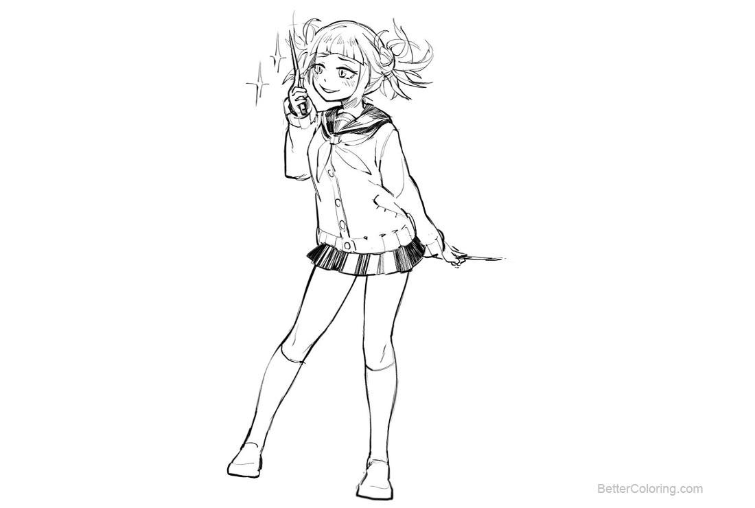 Free Toga Himiko from Boku No Hero Academia Coloring Pages by merimokaray printable