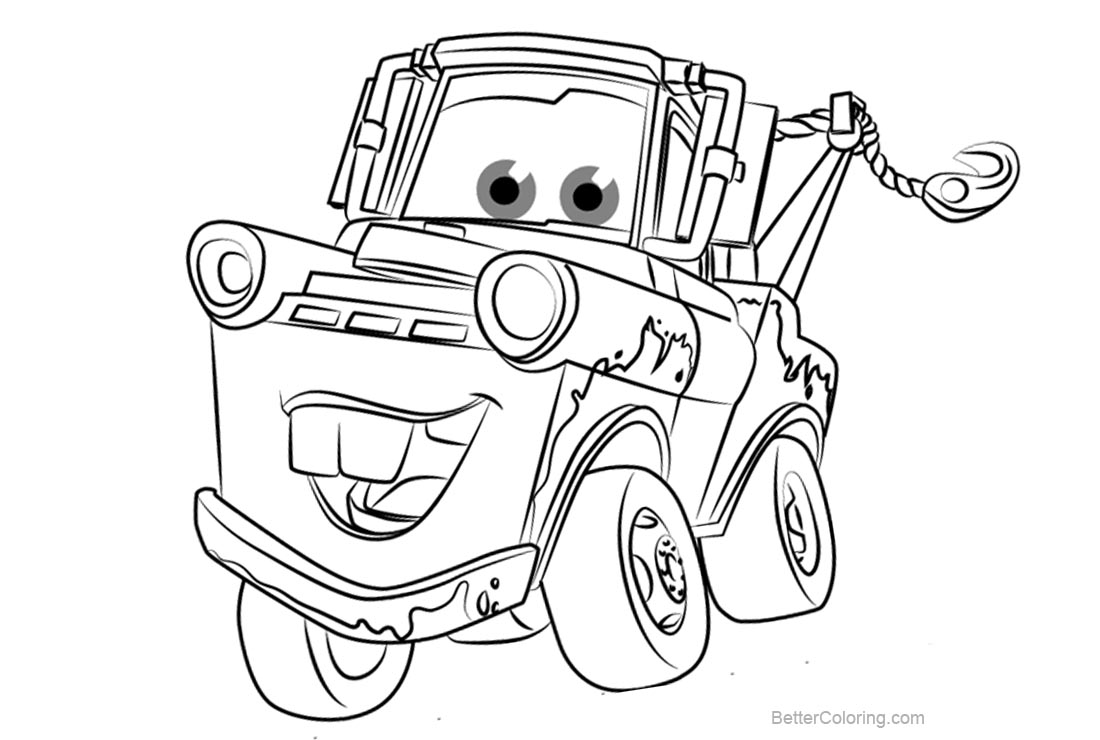 Tow Mater from Cars 3 Coloring Pages Free Printable