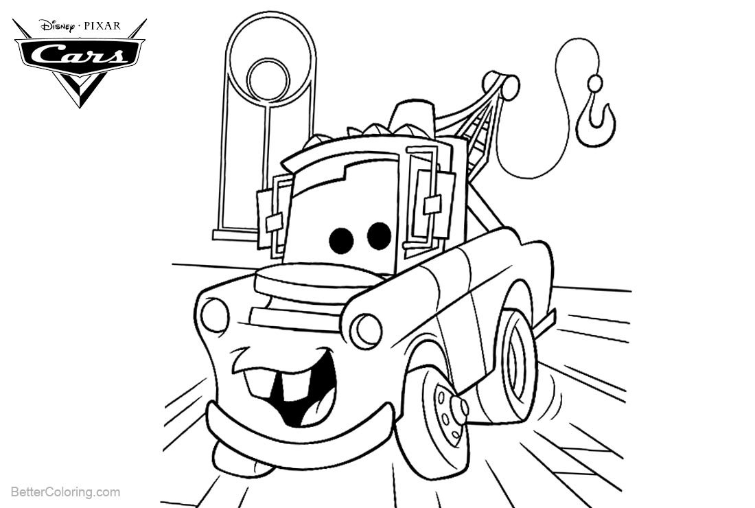 Tow Mater from Cars Pixar Coloring Pages Lineart printable for free