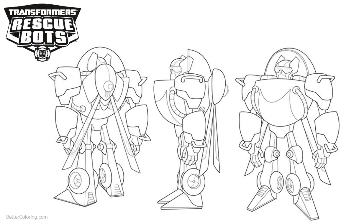 Transformers Rescue Bots Coloring Pages Back Front and Side View printable for free