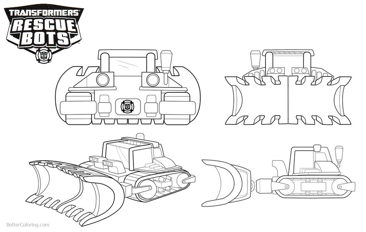 Transformers Rescue Bots Coloring Pages Boulder Line Art printable for free