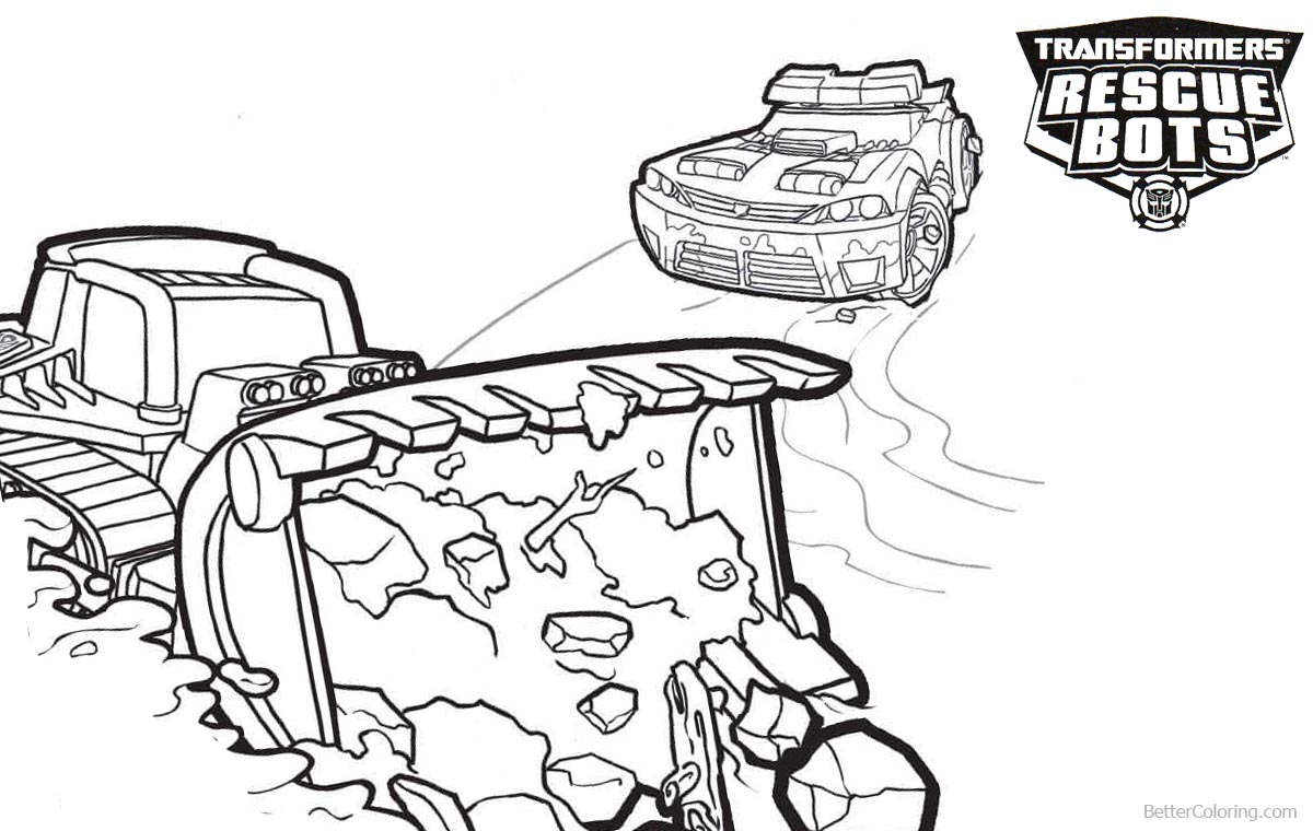 Transformers Rescue Bots Coloring Pages Boulder and Chase Working printable for free