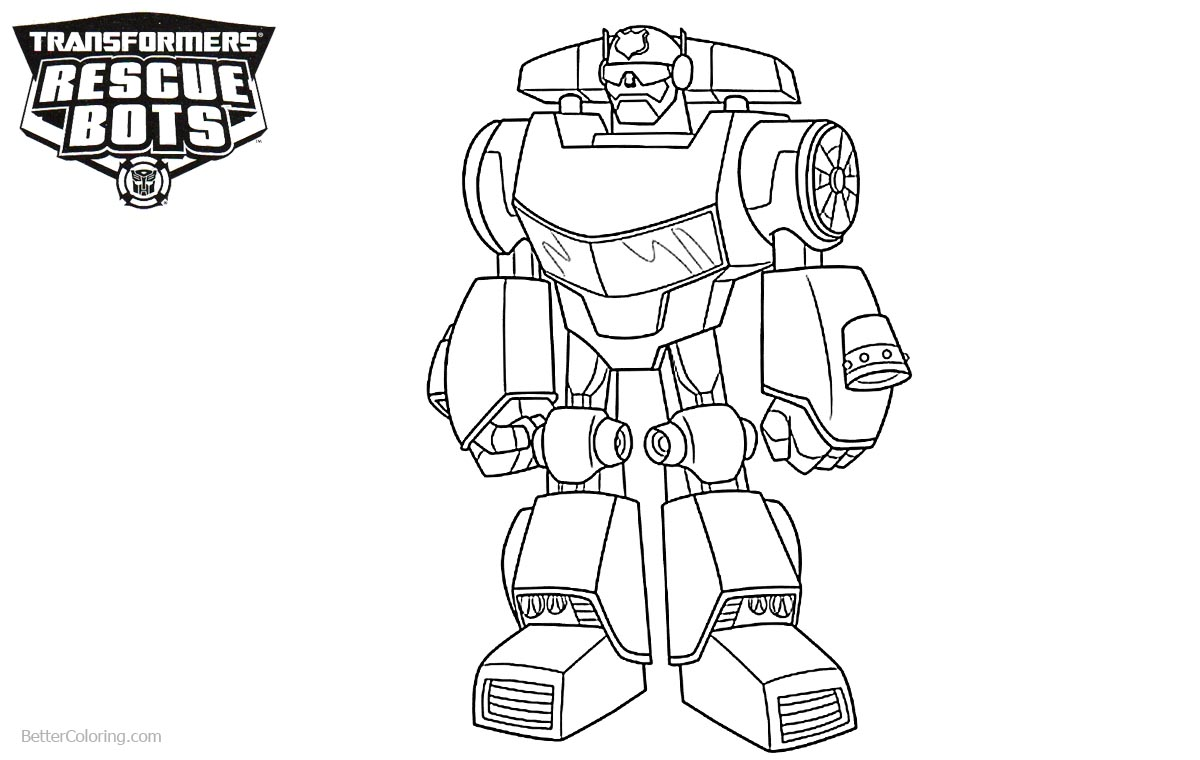 Transformers rescue bots coloring pages chase free for Chase coloring page