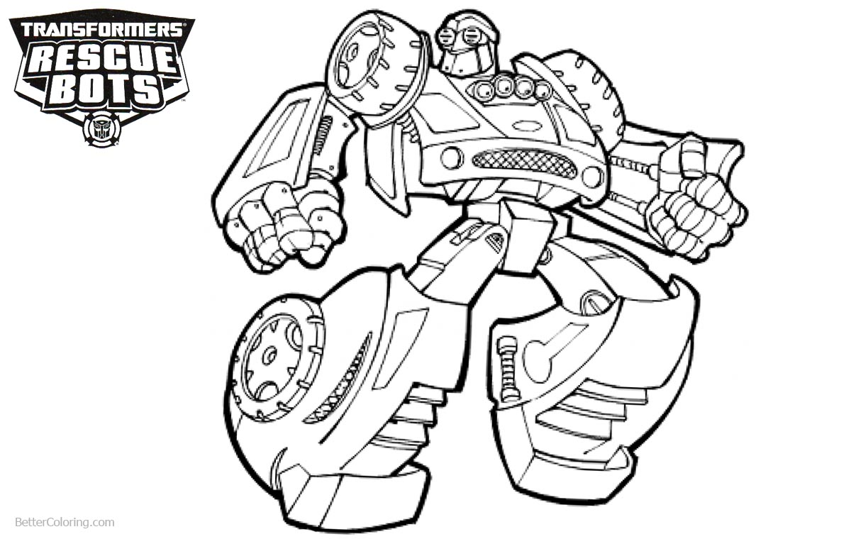 Transformers Rescue Bots Coloring Pages Line Drawing printable for free