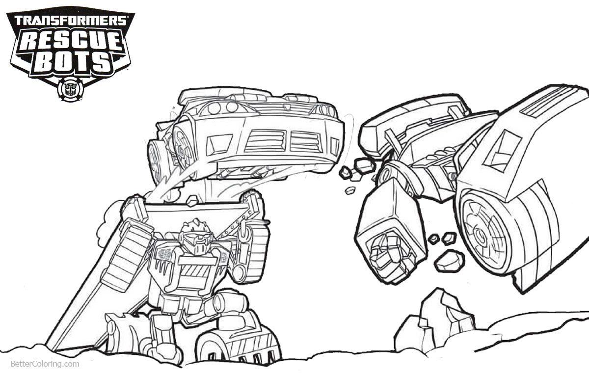 Transformers Rescue Bots Coloring Pages Teamwork printable for free