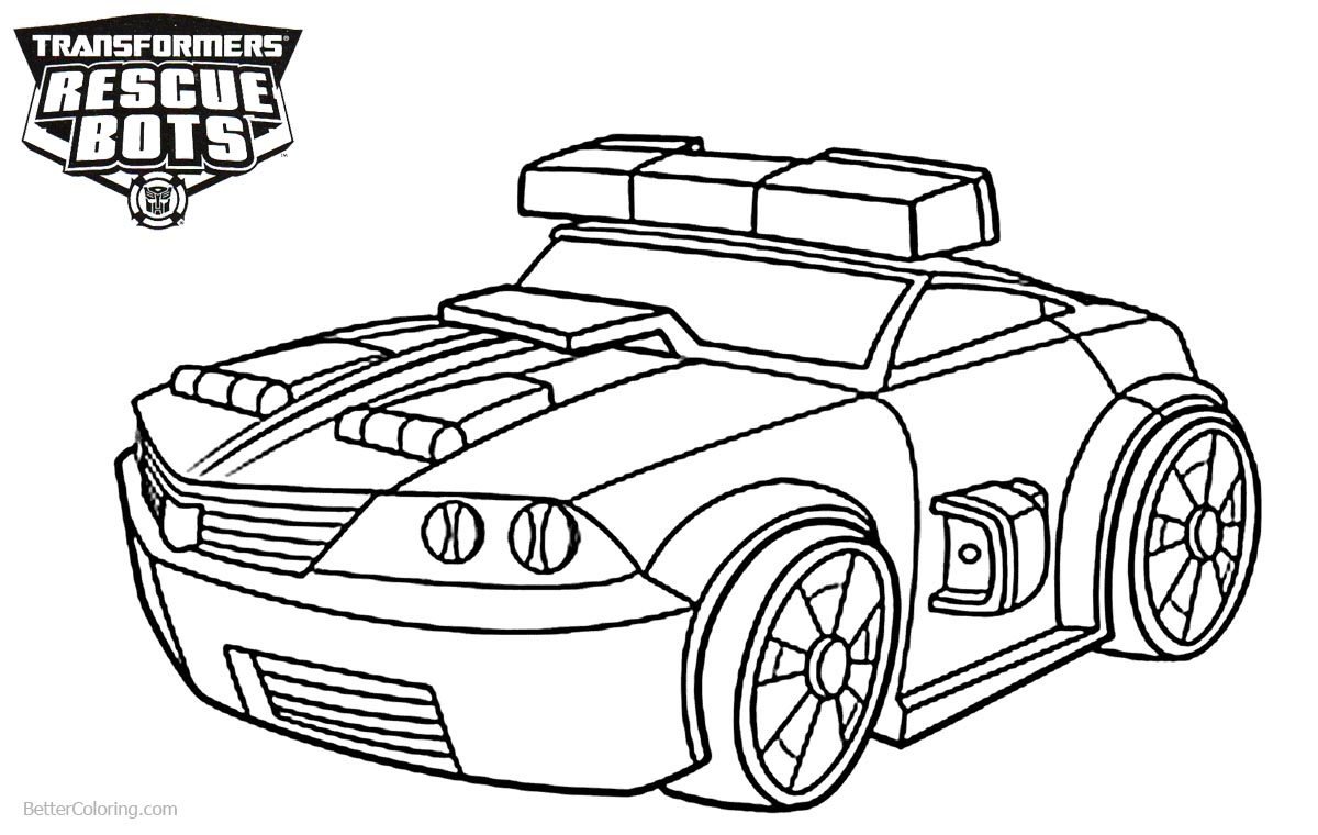Transformers Rescue Bots Coloring Pages The Police Bot Chase