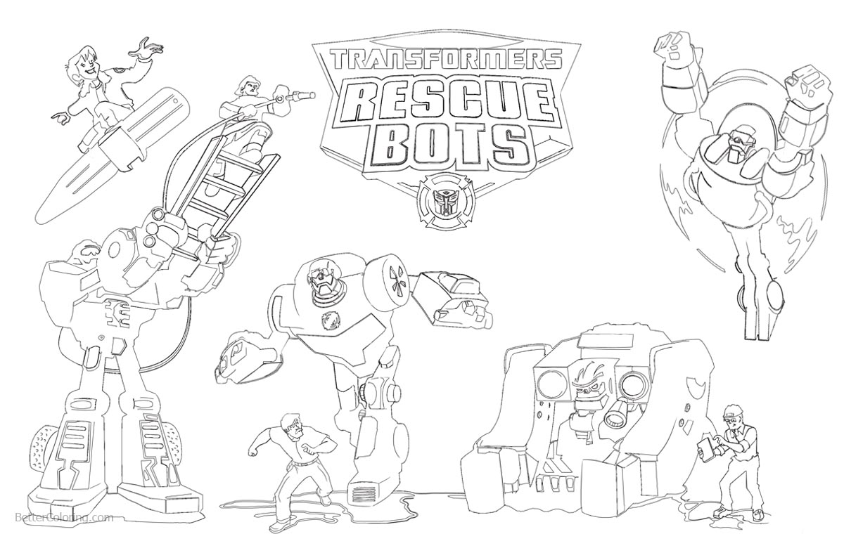 Transformers Rescue Bots Coloring Pages with Logo printable for free