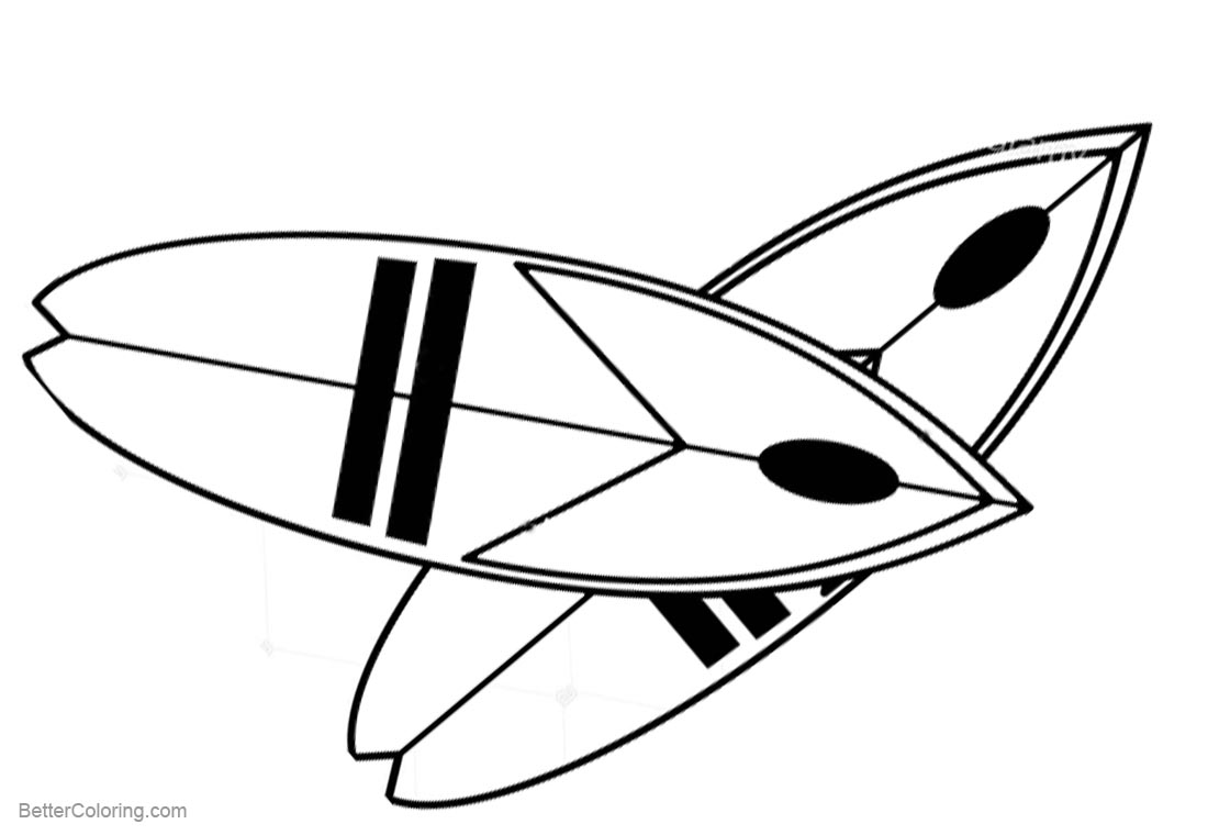 Two Surfboards Coloring Pages printable for free