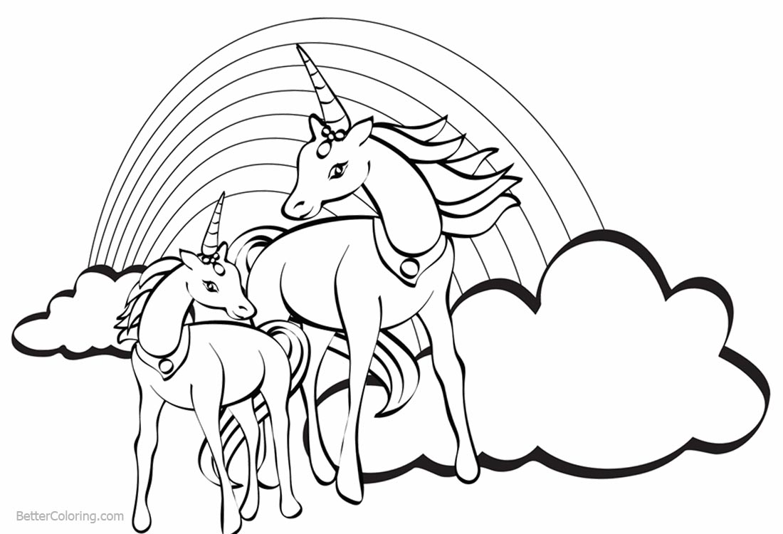 two unicorns coloring pages with rainbow - free printable