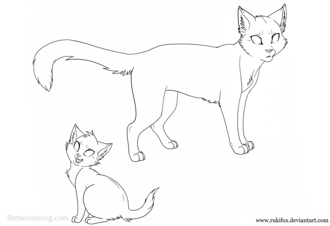 Free Two Warrior Cats Coloring Pages printable