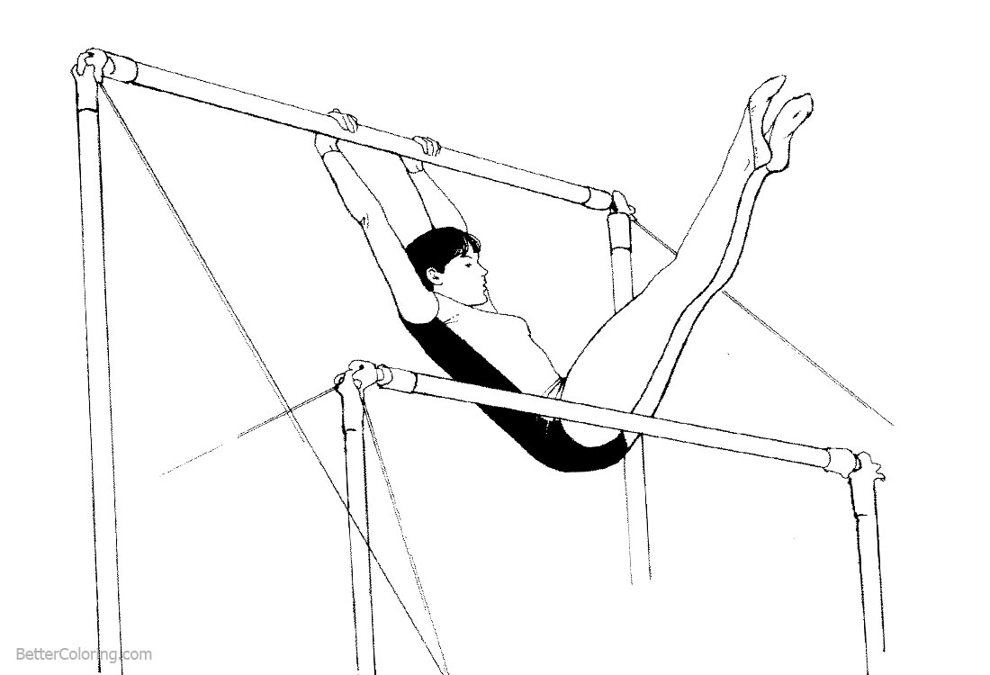 Uneven Bars from Gymnastics Coloring