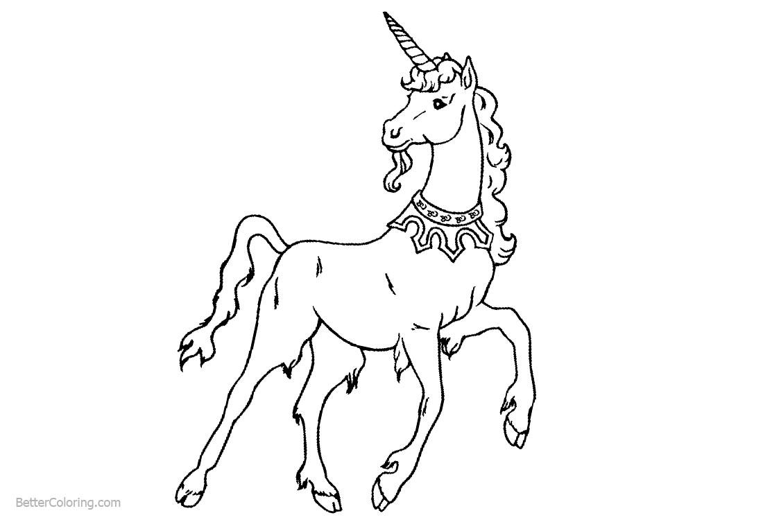 Unicorn Coloring Pages Black and White printable for free