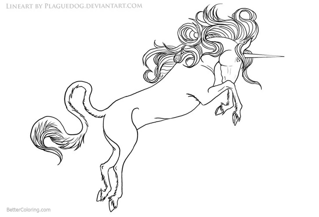 Unicorn Coloring Pages Drawing by Plaguedog printable for free