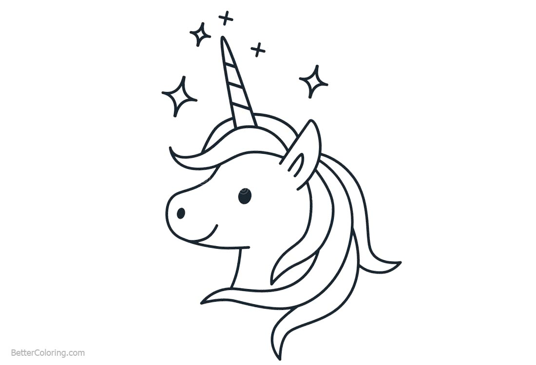 Unicorn Coloring Pages Head Clipart