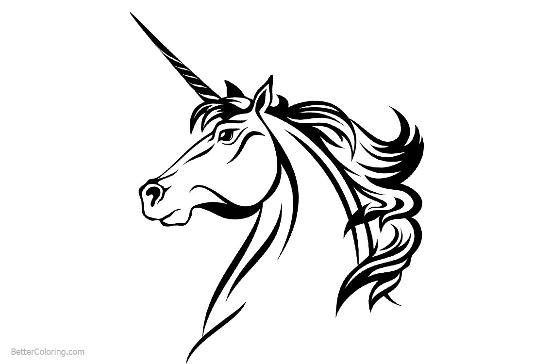 Unicorn Coloring Pages Head - Free Printable Coloring Pages