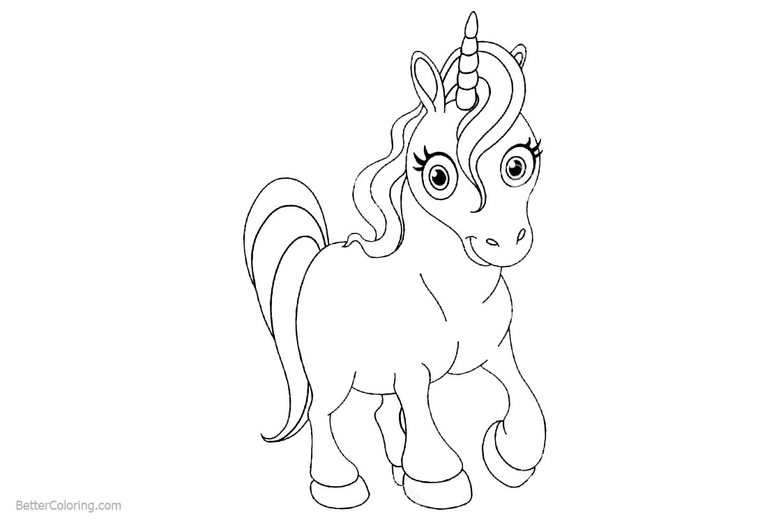 Unicorn Coloring Pages Line Drawing printable for free