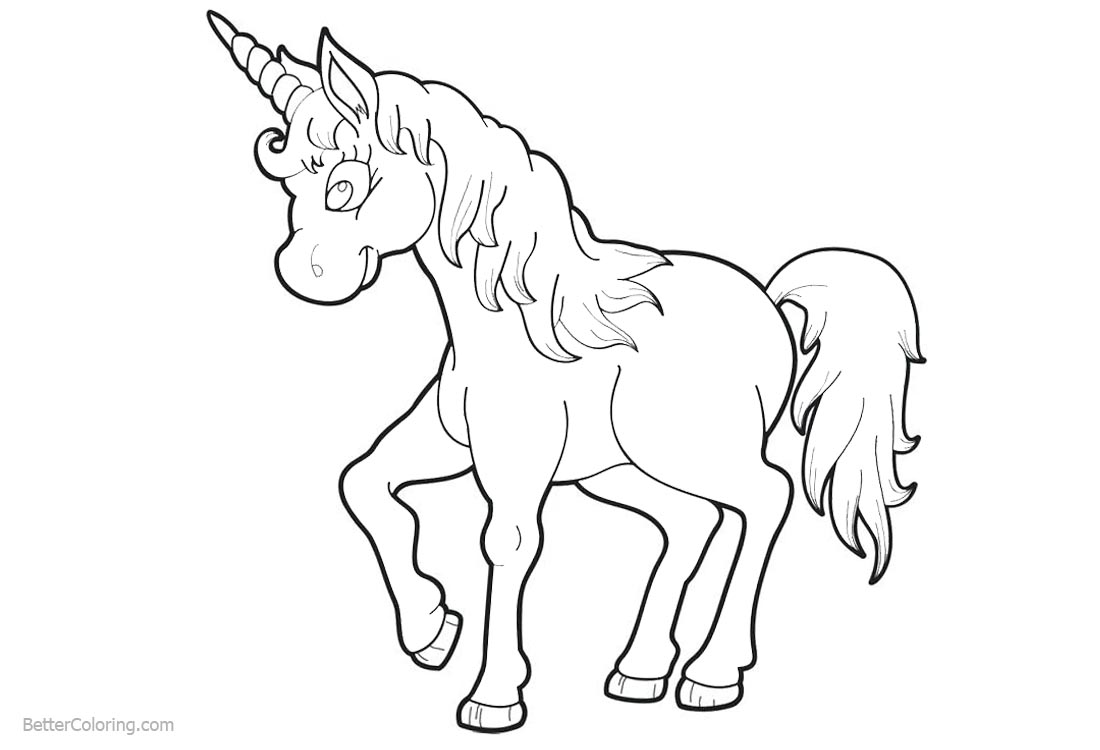 Unicorn Coloring Pages Simple Clipart printable for free