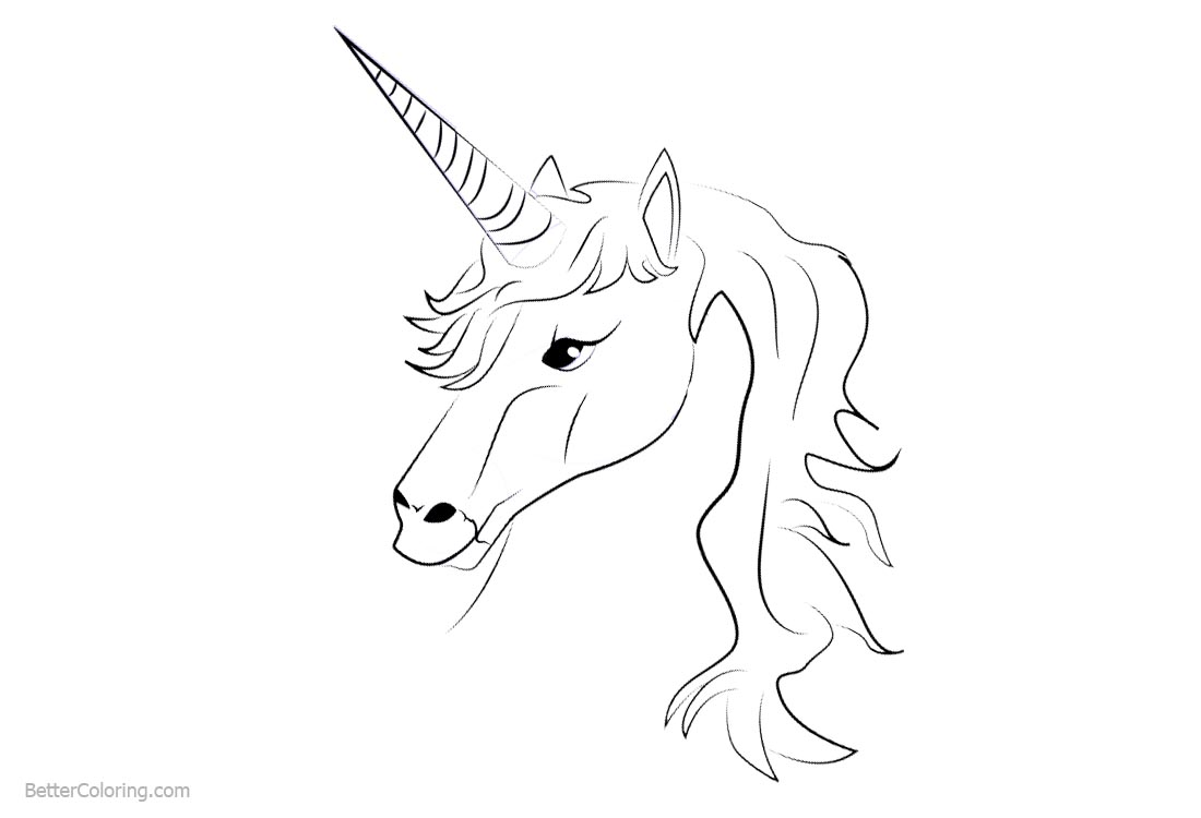Unicorn Coloring Pages Simple Head Lineart printable for free