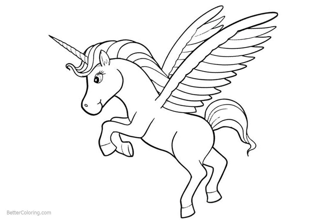 Unicorn Coloring Pages Simple Line