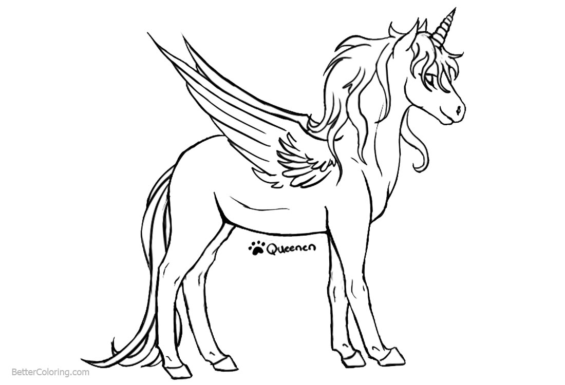 Unicorn Coloring Pages Sketch Drawing printable for free