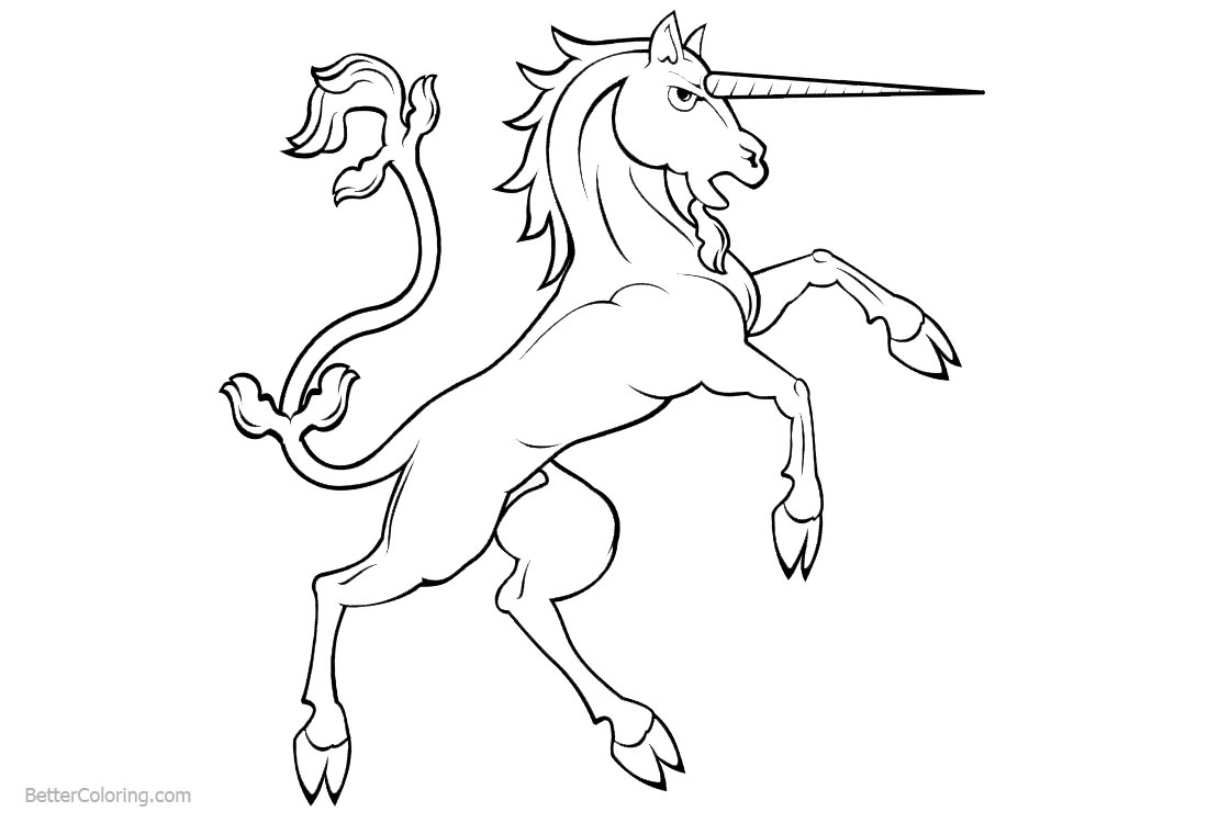 Unicorn Coloring Pages Standing Up printable for free