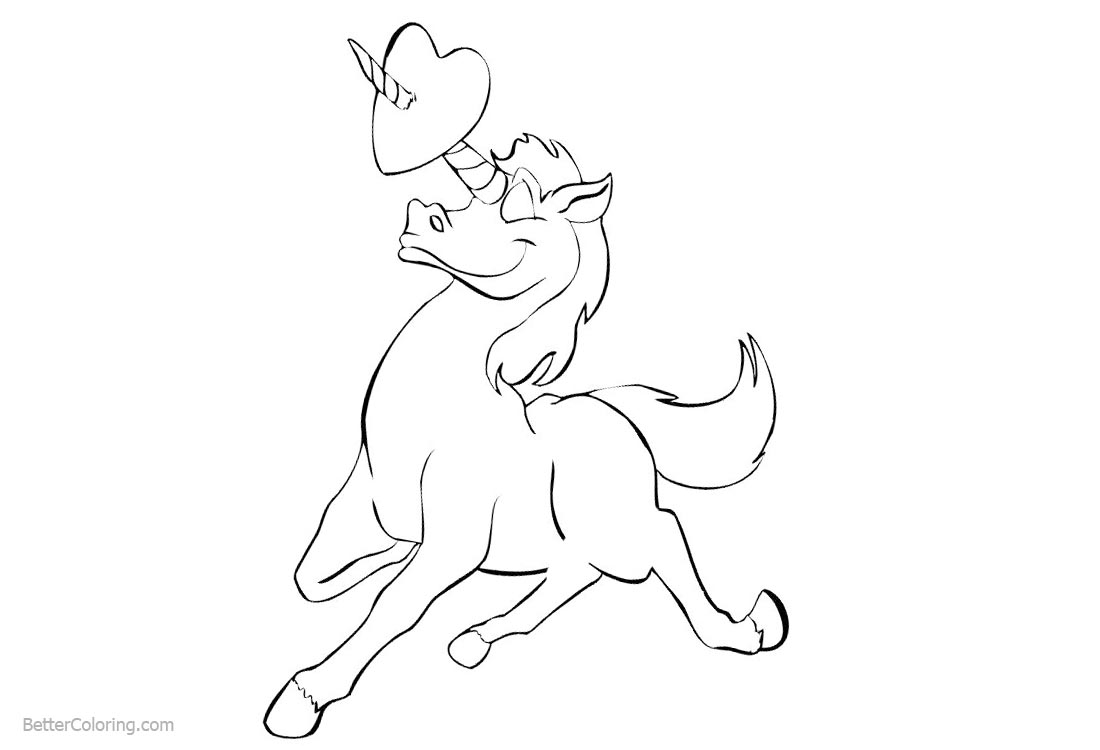 Unicorn Coloring Pages with Heart Clipart - Free Printable ...