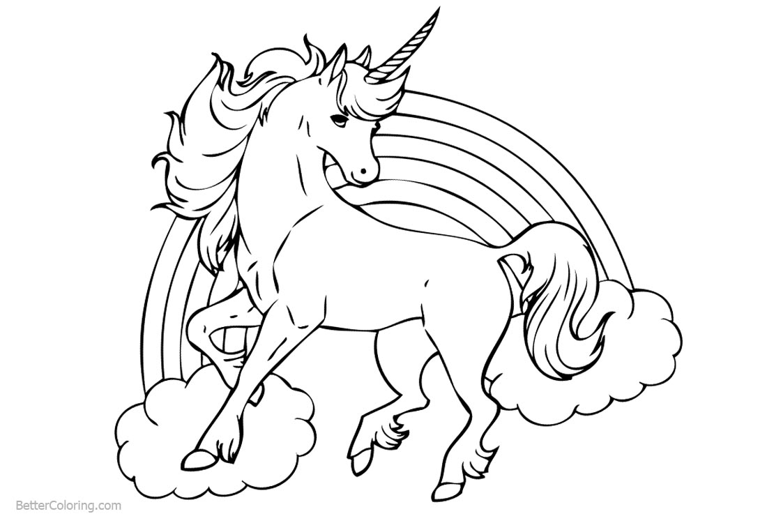 Unicorn Coloring Pages with Rainbow printable for free