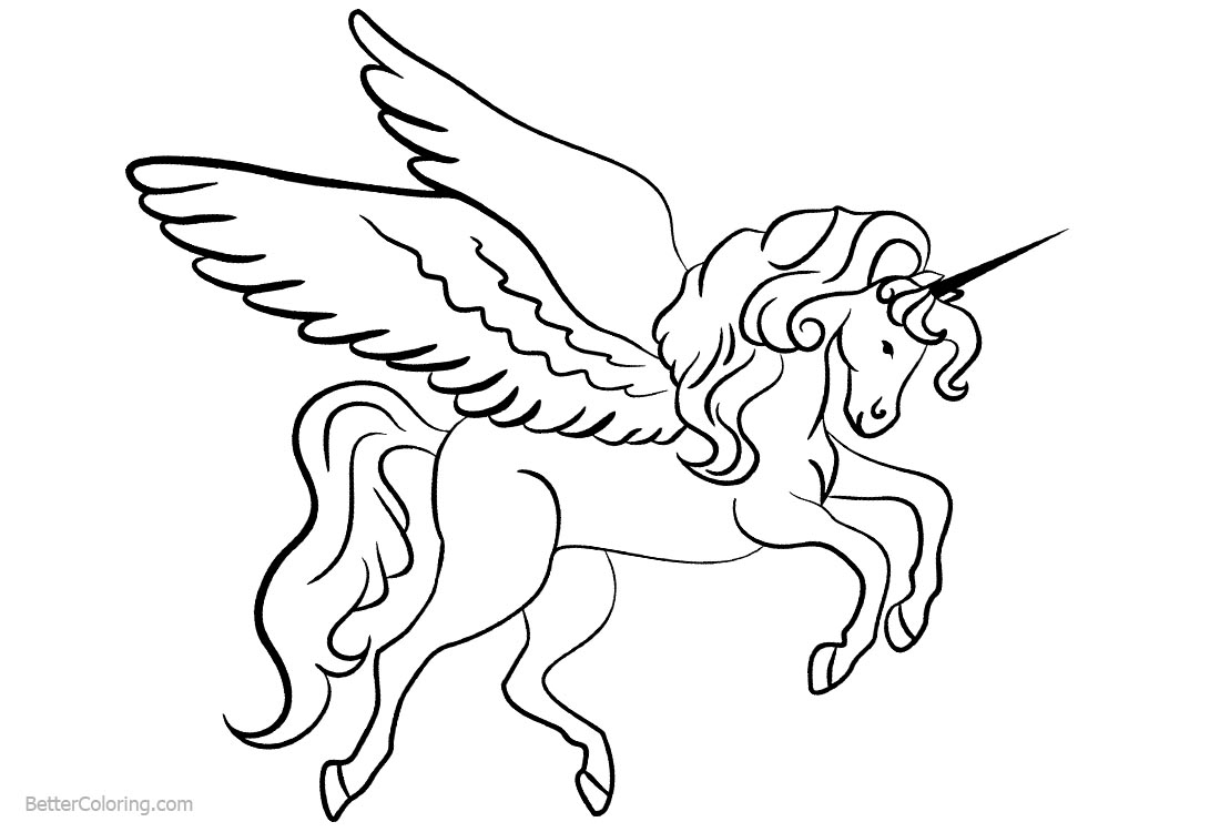 Unicorn Coloring Pages with Wings printable for free