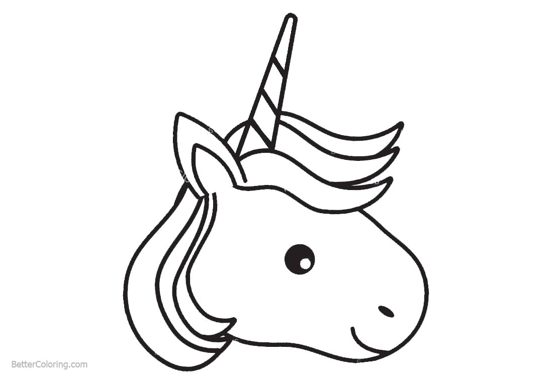 Unicorn Head Coloring Pages Free