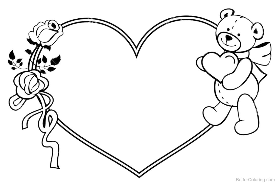 Valentines Day Coloring Pages Roses and Teddy Bear Free