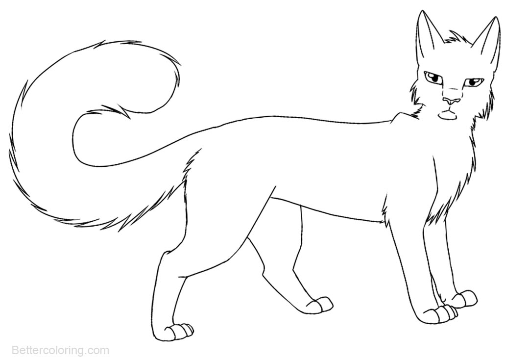 Free Warrior Cats Coloring Pages Black and White printable